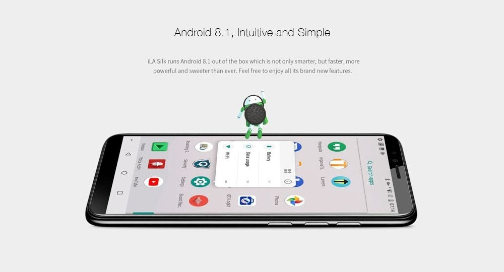 iLA Silk 4G Phablet 5.7 inch Android 8.1 Qualcomm Snapdragon 430 Octa Core 1.4GHz 4GB RAM 64GB ROM Dual Rear Cameras Fingerprint Recognition - Blue