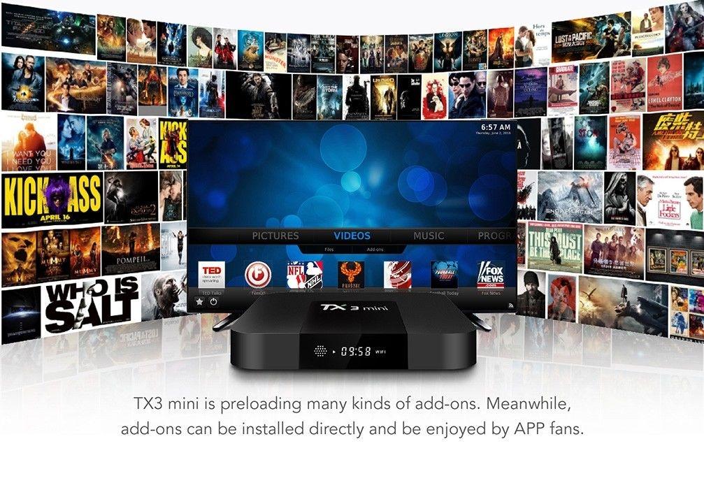 TX3 Mini TV Box 2.4GHz WiFi Android 7.1 2GB RAM + 16GB ROM Support 4K