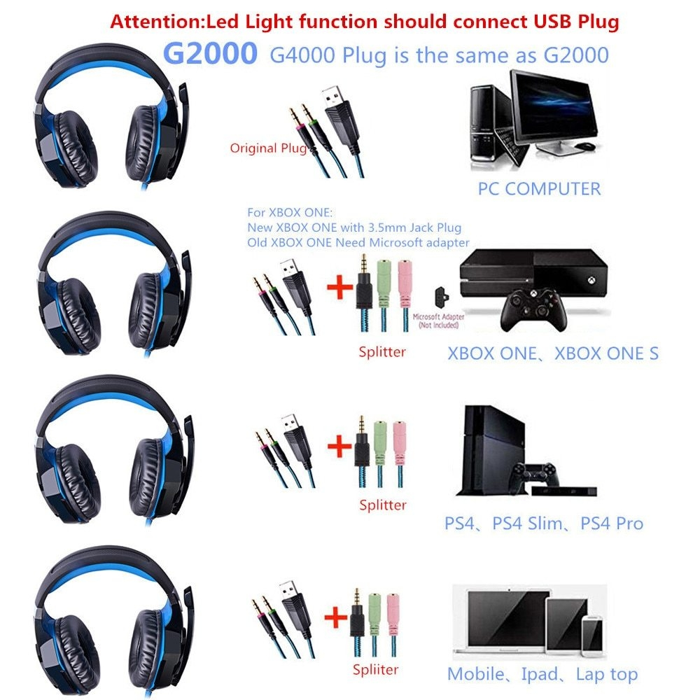 Generic G2000 G9000 Gaming Headsets Big Headphones with