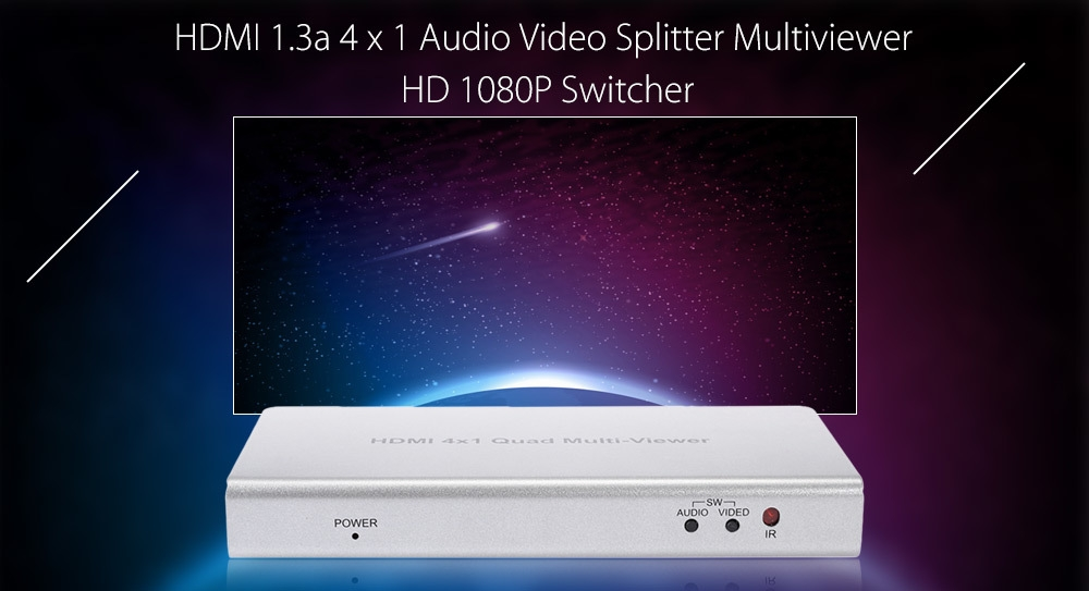 HDMI 1.3a Audio Video Splitter Multiviewer HD 1080P 4 In 1 Out Switcher