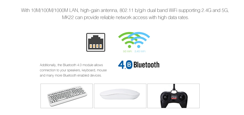 Rikomagic RKM MK22 TV Box Amlogic S912 Octa Core Android 6.0 2.4G + 5G Dual Band WiFi Bluetooth 4.0 3G DDR3 RAM 32G eMMC ROM