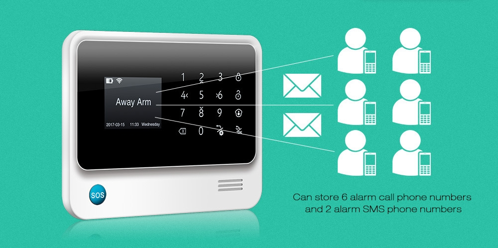 GS - G90B Plus GSM WiFi / GPRS / SMS 2.5 inch LED Touch Keypad Alarm System Home Security