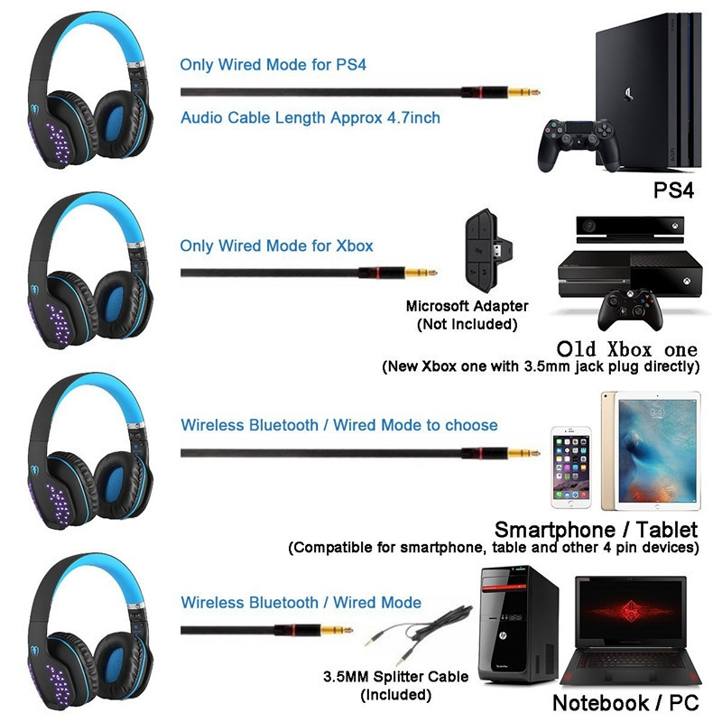 Generic Q2 Foldable Wireless Bluetooth Headphone casque Gaming