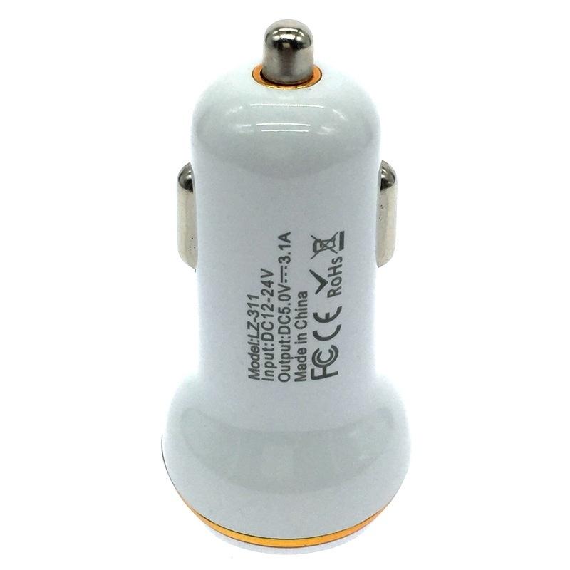 Electroplating Ring Car Charger Duplex   Dual USB  Intelligent Distribution Current