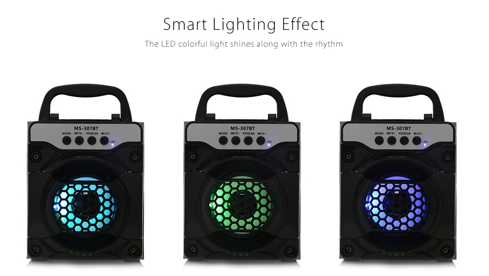 Redmaine MS - 307BT Portable Bluetooth Speaker with LED Lights 3 inch Driver Unit