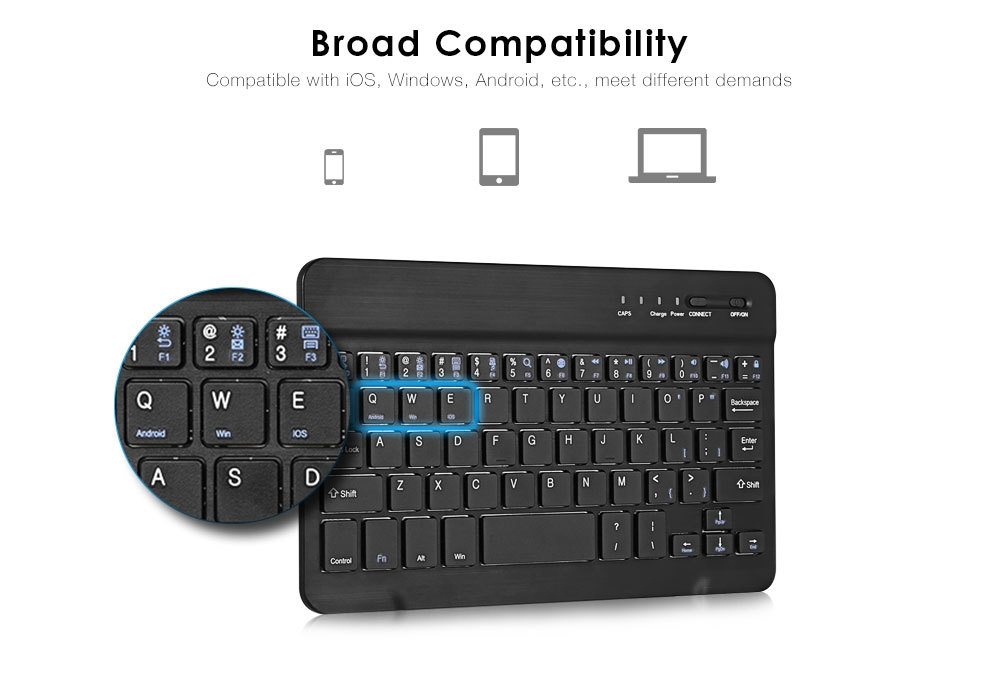 BH020 7 inch Bluetooth Keyboard Universal Device for Android Windows iOS