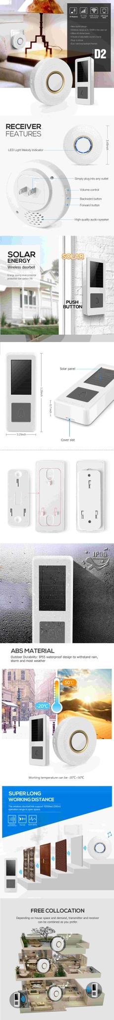 Forrinx model D2 52 Ring song mini wireless doorbell 2 transmitter 1 receivers Wireless Door Bell