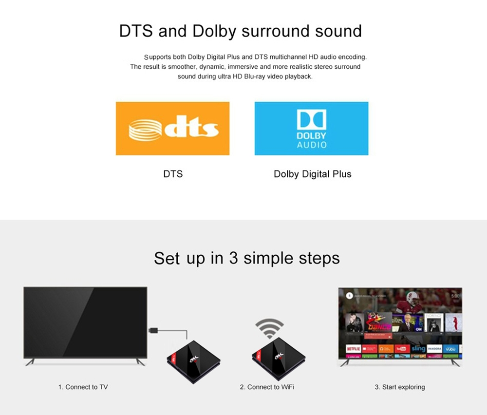 H96 Pro+ TV Box Amlogic S912 Octa Core CPU Android 7.1 Bluetooth 4.1 Support 2.4GHz / 5.0GHz WiFi