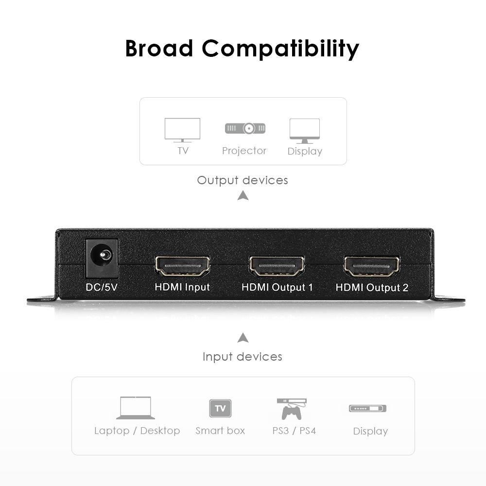 HY - 1024 - V0 - F HDMI Splitter 1 Input 2 Outputs 1920 x 1200 Support 1080P / 60Hz 3D