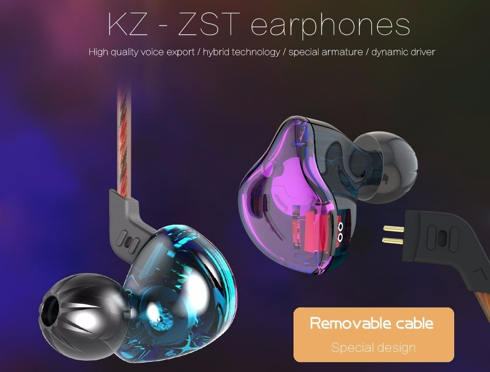 KZ ZST Wired Cable Detachable Noise-canceling In-ear Earphones