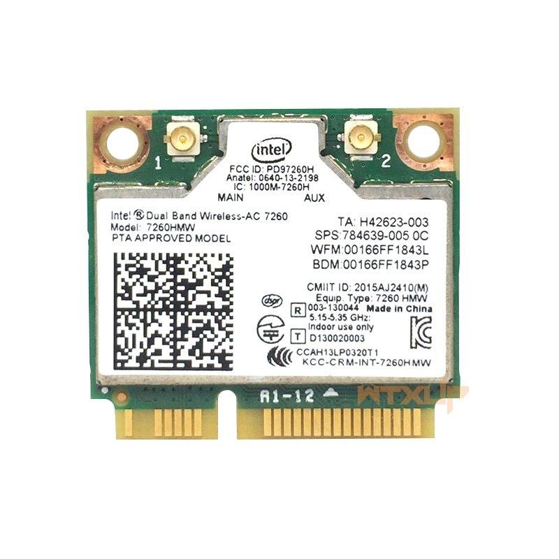 Intel Dual Band Wireless-AC 7260 867Mbps WiFi+Bluetooth 4.0 PCI-E X1 Wlan Card