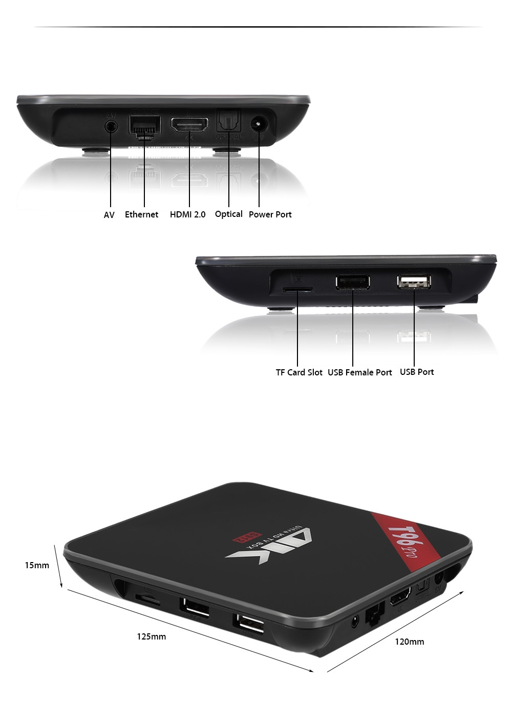 T96 PRO TV Box Amlogic S912 Octa-core Android 6.0 2.4G / 5.0G WiFi Bluetooth 4.1 H.265 Decoding Multi-media Player