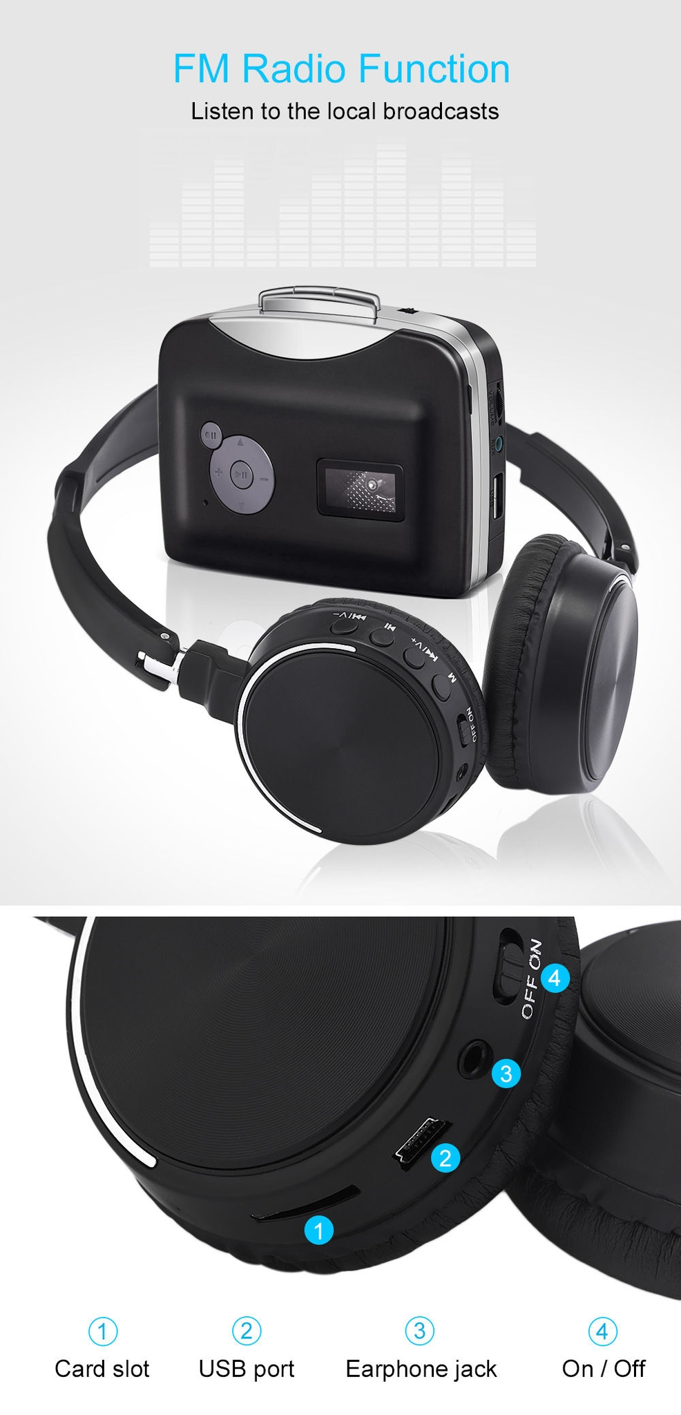 BT - 815 Wireless Stereo Bluetooth V3.0 Headphone with FM Radio TF Card Slot