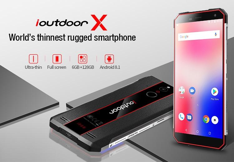 IOUTDOOR X 6GB RAM 128GB Helio P23 MTK6763 2.0GHz Octa Core 5.7 Inch Corning Gorilla Glass 5 HD+ Full Screen Dual Camera IP68 Waterproof Android 8.1 4G LTE Smartphone
