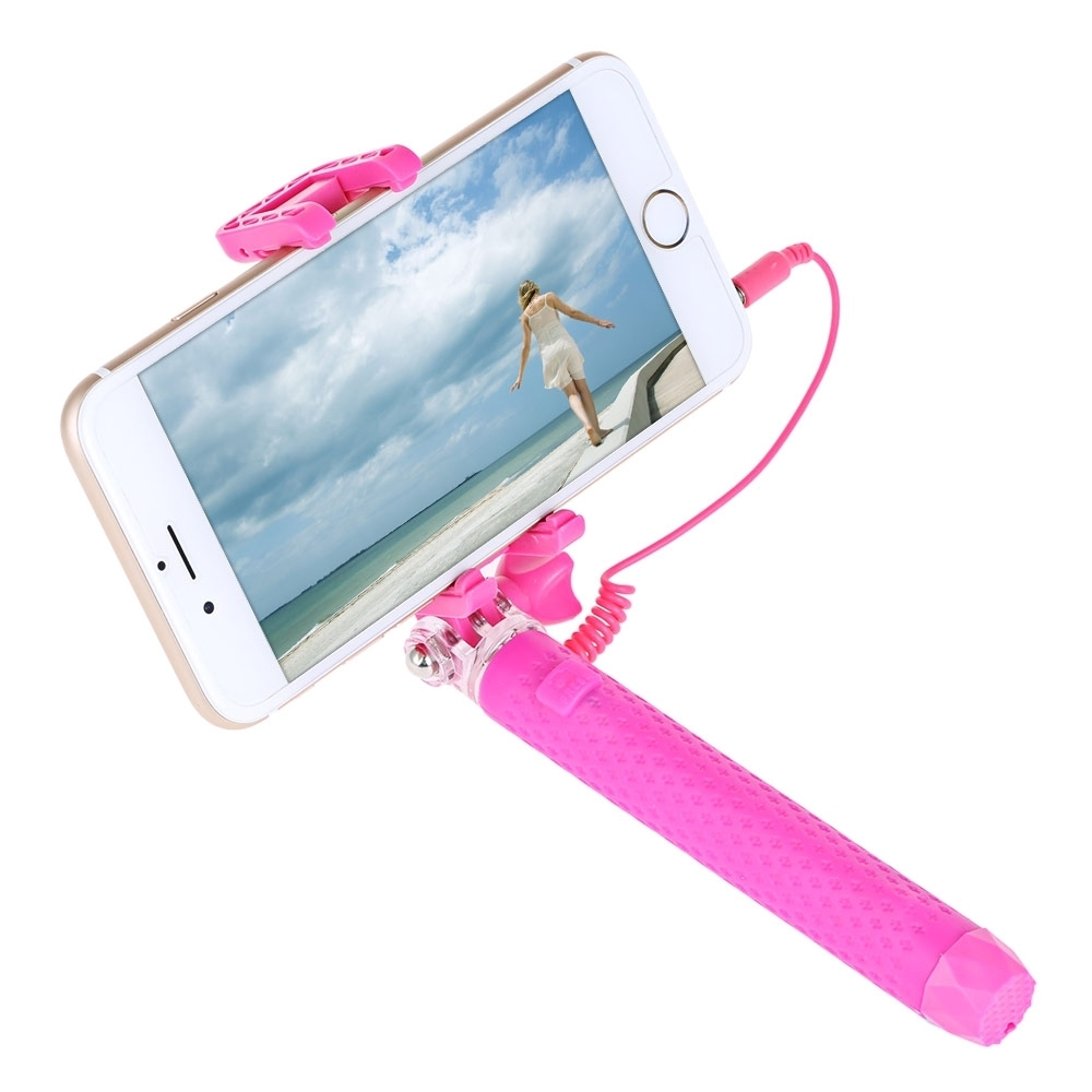 generic mini selfie stick monopod wire control with small rearview mirror red buy online. Black Bedroom Furniture Sets. Home Design Ideas
