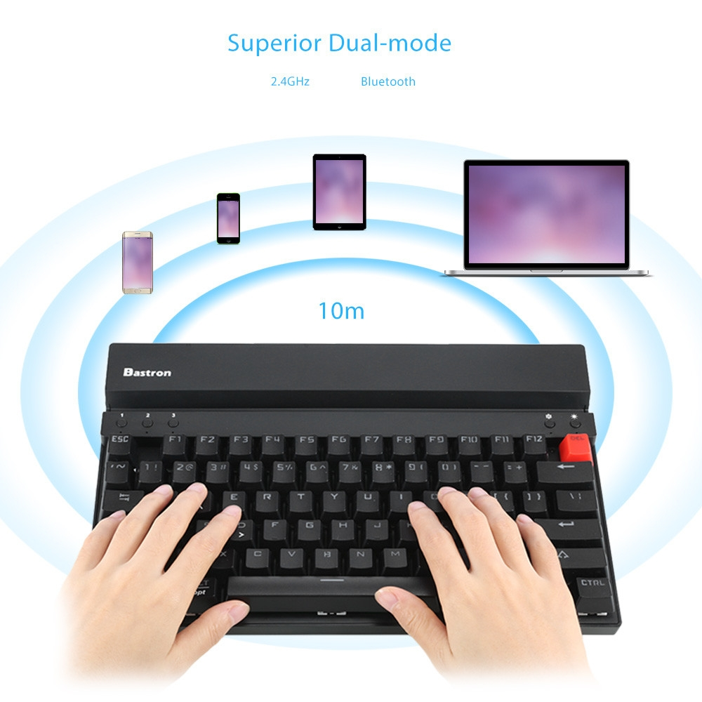 Bastron Mechanical Keyboard 2.4GHz / Bluetooth Dual-mode with Mouse 75 Keys