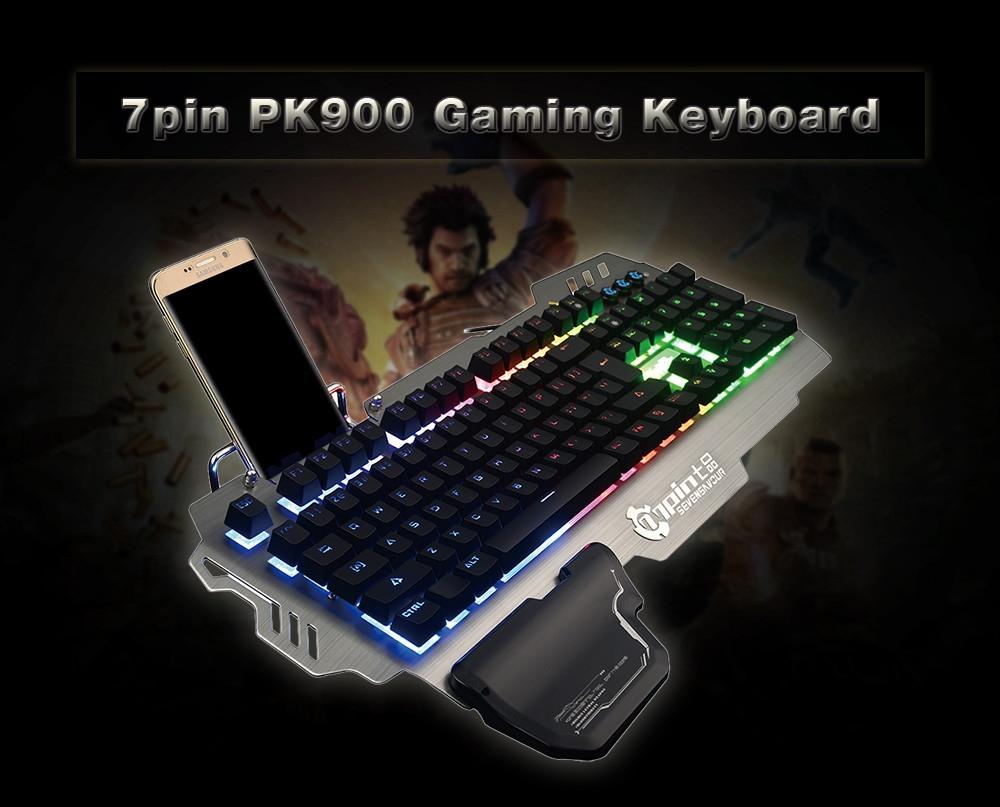 7pin PK900 Gaming Keyboard with RGB Backlight 104 Keys