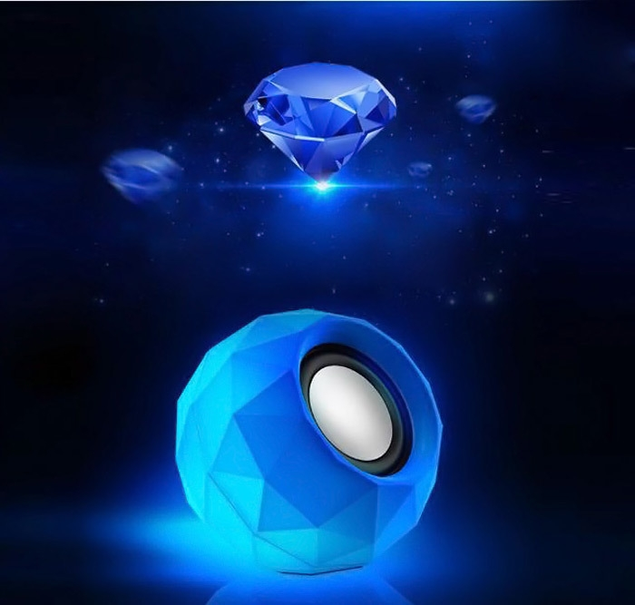 PopuPine M01 Ultra Mini HiFi LED Shinning USB2.0 Speaker MP3 Player with 3.5mm Jack for Outdoor Travel - 2PCS