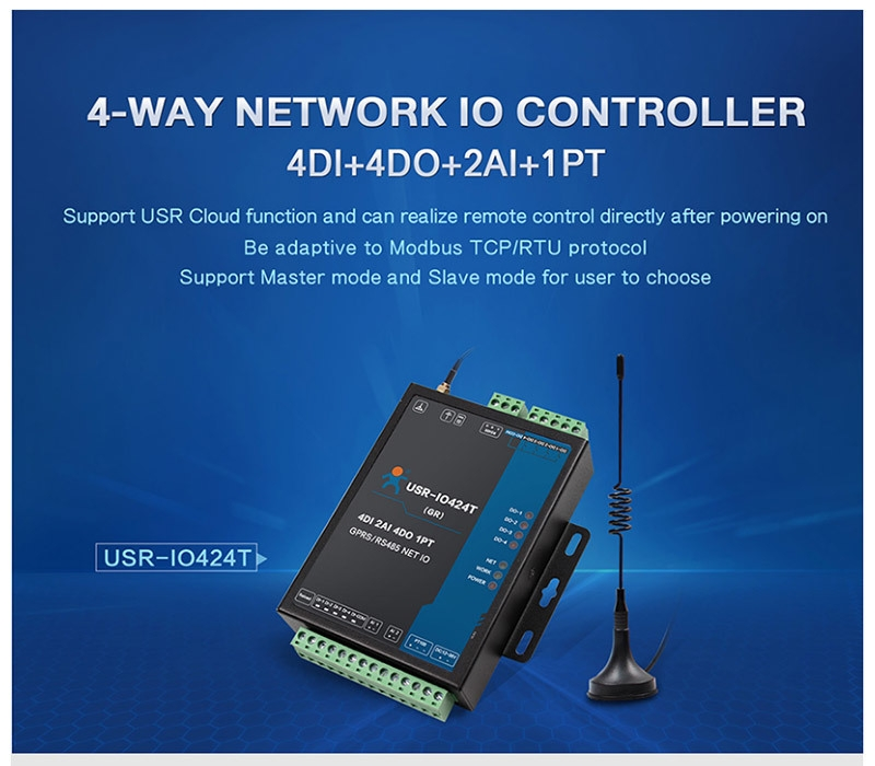 Generic USR-IO424T-GR 4 Channel Network IO Controller with