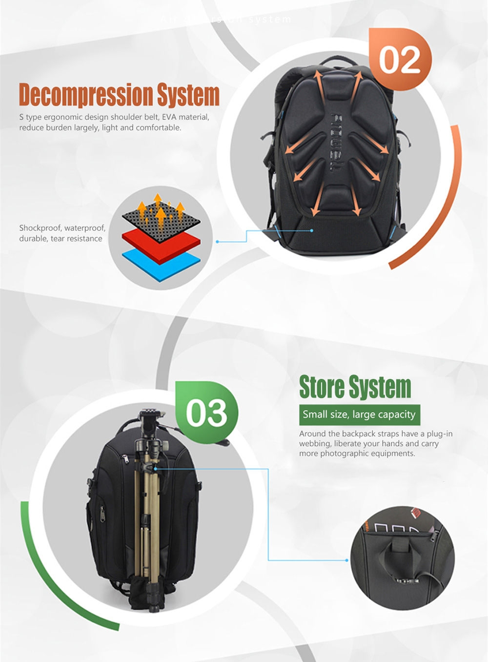 PROWELL DC21948 DSLR Camera Photography Backpack