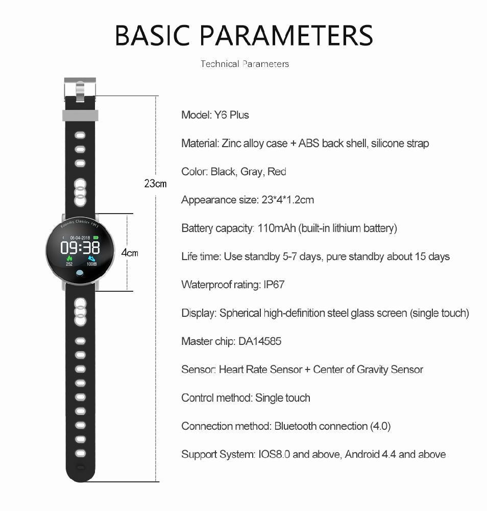 Y6 Plus Colourful Display Blood Pressure Heart Rate Stopwatch Sport Mode  Smart Watch (Blue) WANKAI