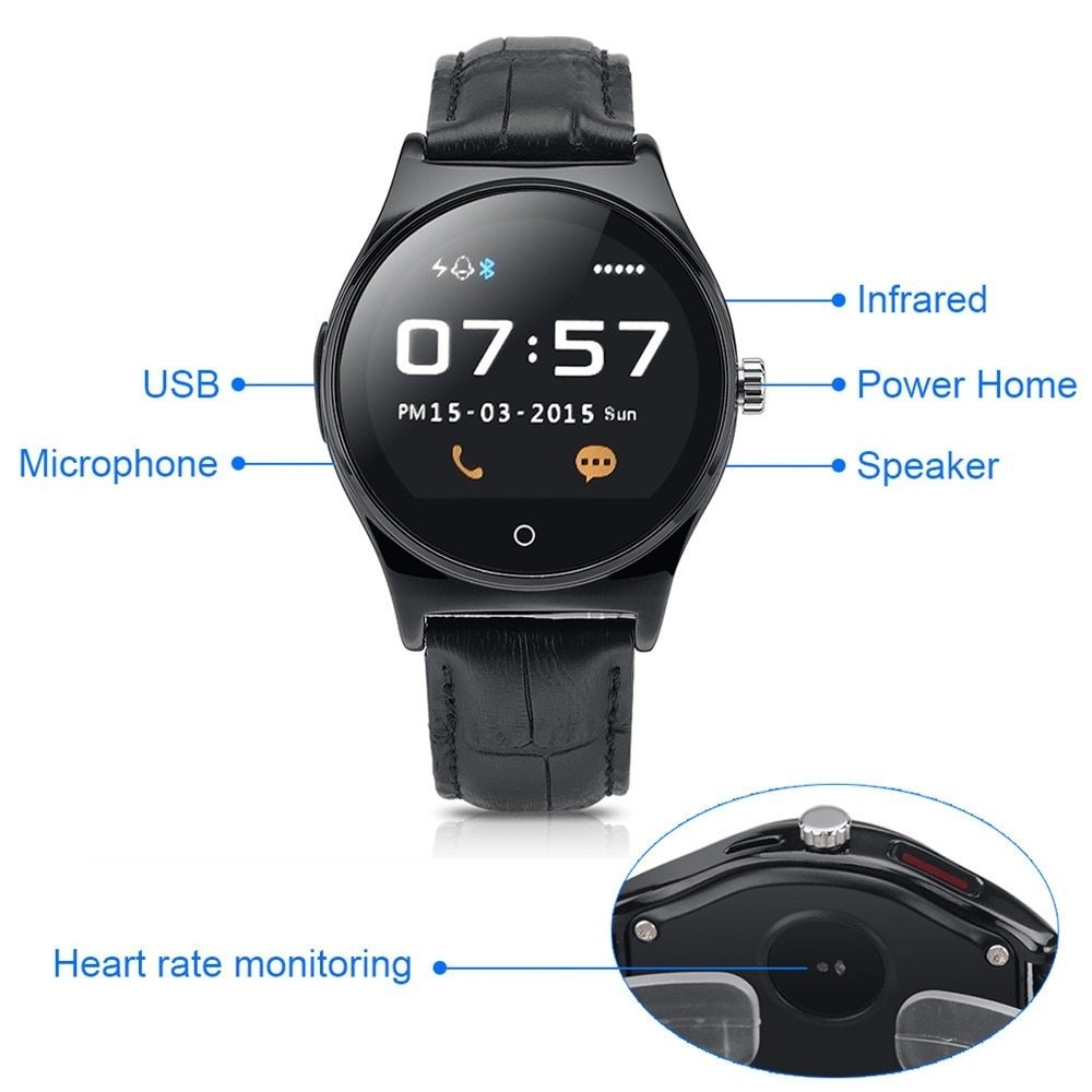 Hot RWATCH R11 Smart Watch Infrared Remote Controller Heart Rate Calls SMS Sedentary Reminder BT Music Pedometer for Android IOS11