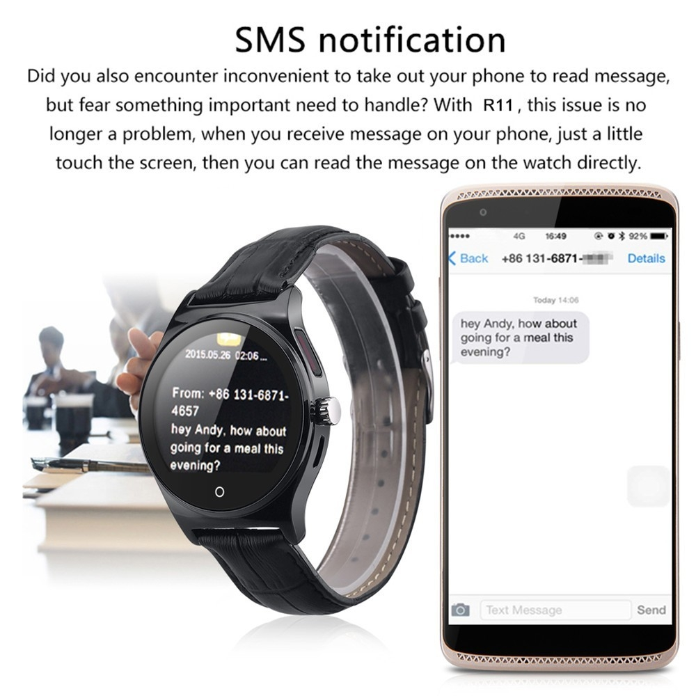 Hot RWATCH R11 Smart Watch Infrared Remote Controller Heart Rate Calls SMS Sedentary Reminder BT Music Pedometer for Android IOS29