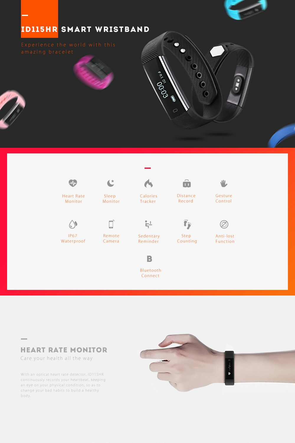 ID115HR Heart Rate Monitor Smart Bracelet Remote Camera Sports Wristband