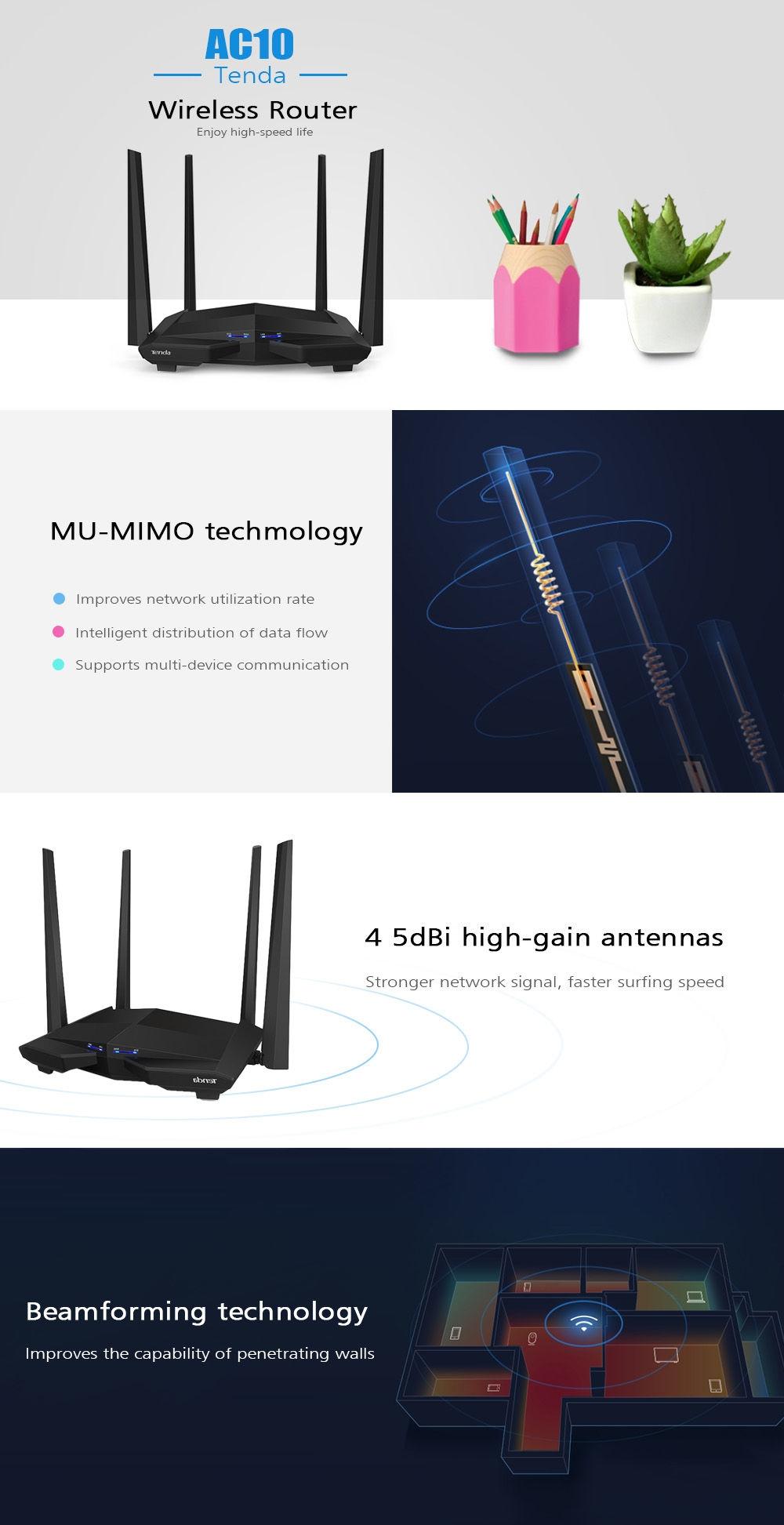 Tenda AC10 Wireless Router 1167Mbps / 2.4GHz + 5GHz Dual Band Wi-Fi / 4 5dBi Antennas