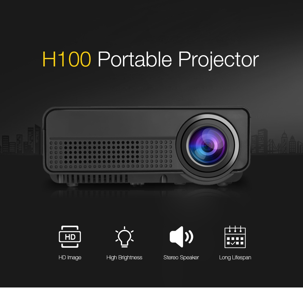 H100 led portable projector home theater 600 lumens 480 x for What s the best pocket projector
