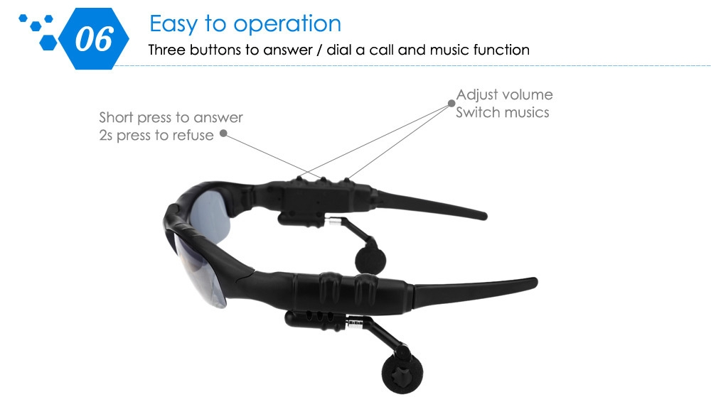 BT201 Multifunctional V4.0 Smart Bluetooth Sunglasses Headset with Polarized Lens