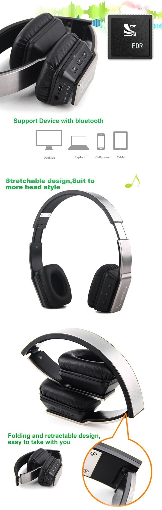 VEGGIEG V8200 Stretch Wireless Bluetooth V4.0 + EDR Hands Free Headset MP3 Music Headphone with 3.5mm Jack and Micro USB Interface for iPhonefor Samsung Smartphones Laptop etc.