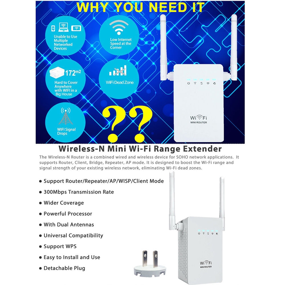Buy Generic Wifi Repeater Wireless Router Higg Speed 300mbps Ieee Wired Network Diagram Bridge Image