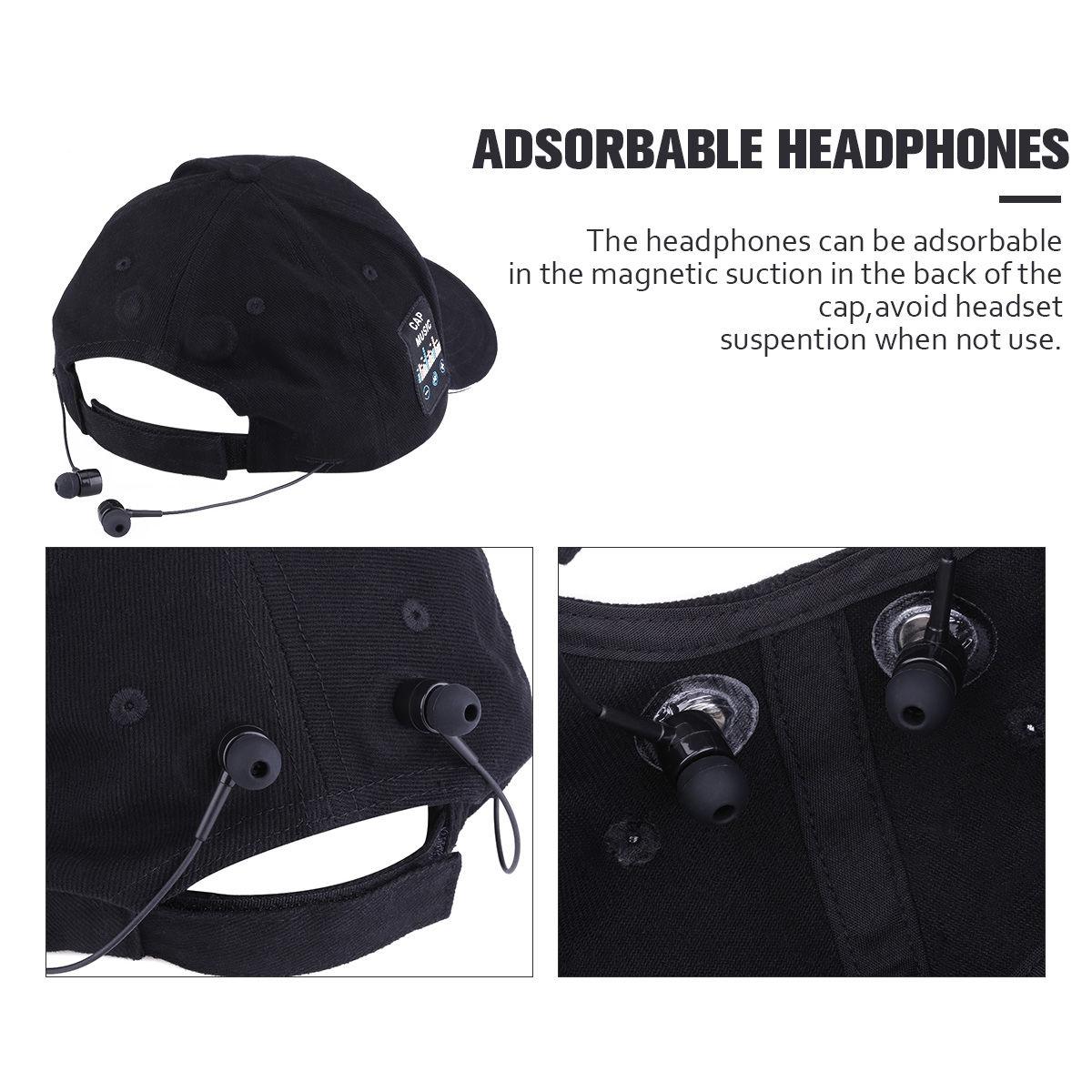 Wireless Headset Bluetooth Baseball Cap Hands- Black