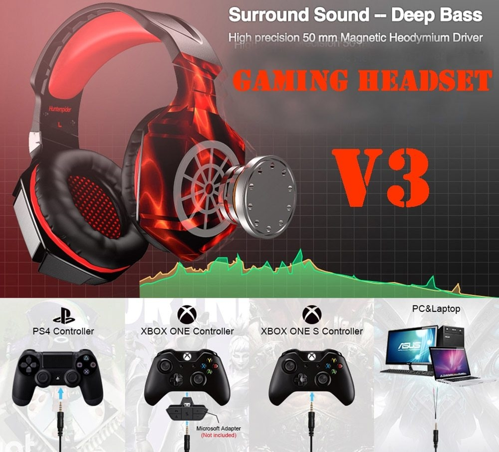 Generic V3 Stereo Gaming Headset for PS4 Xbox One, Over Ear