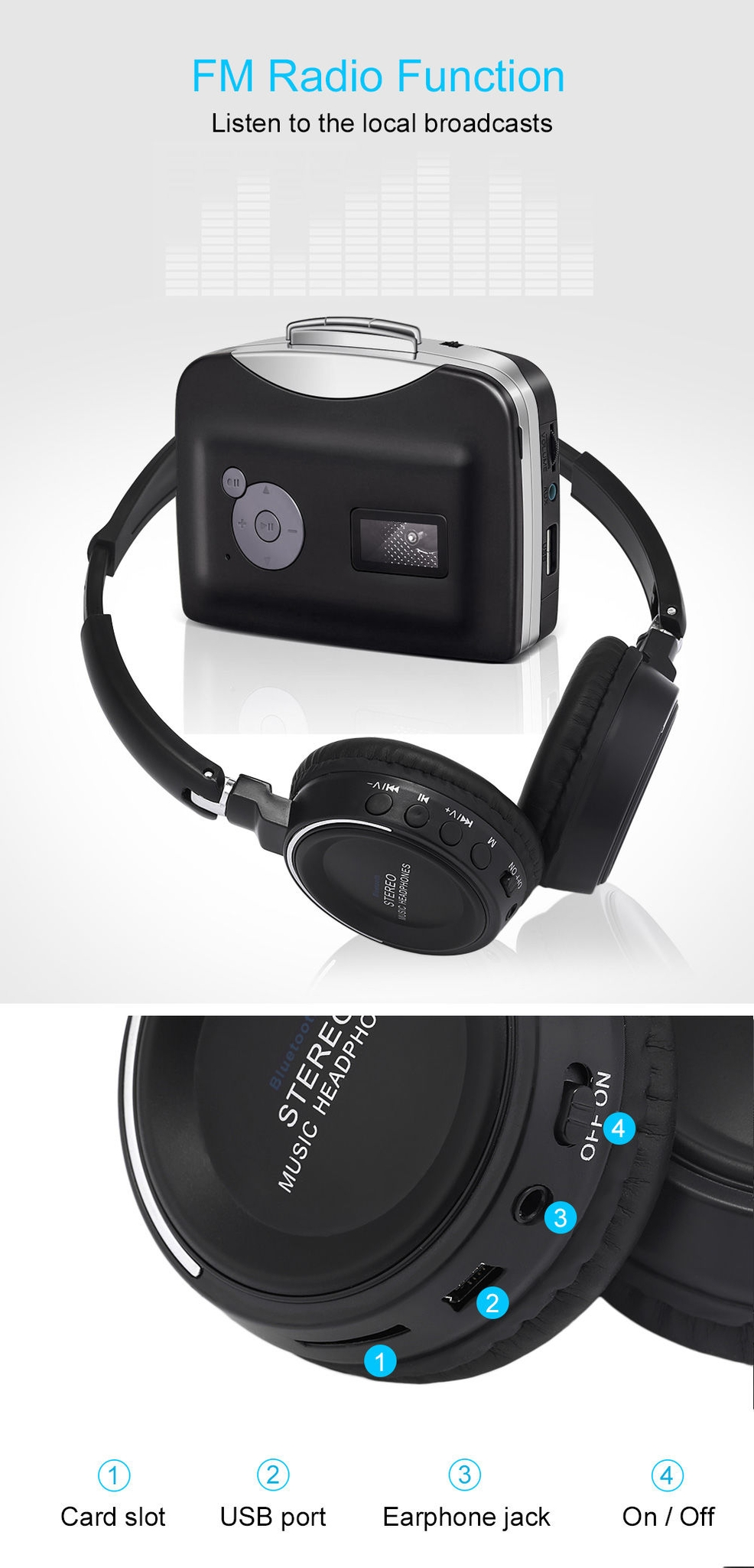 BT - 823 Wireless Bluetooth Headphone with FM Radio TF Card Slot
