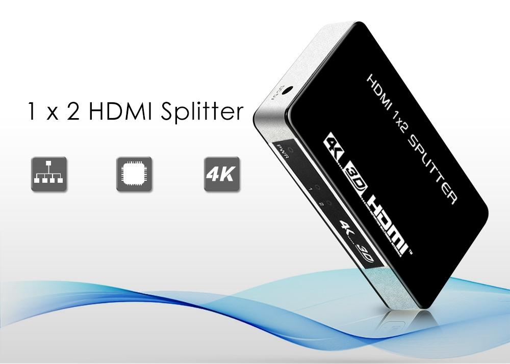 HY - 1024 - V0 - E HDMI Splitter 1 Input 2 Outputs 4K x 2K Support 1080P 3D