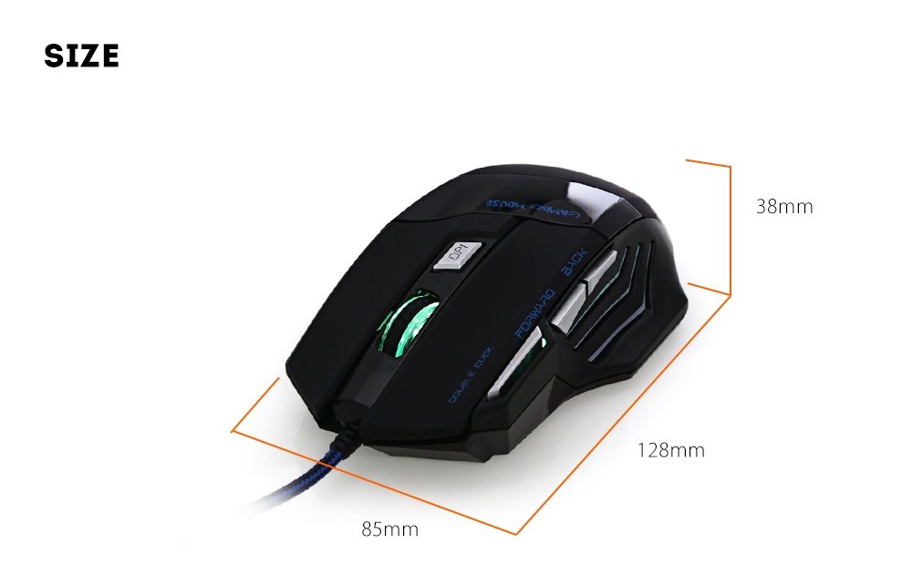HTS - H500 - H Wired Gaming Mouse with LED Light 3200DPI