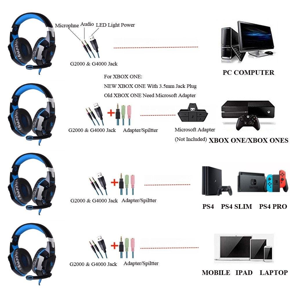 Generic G2000 G4000 G9000 Gaming Headphones Deep Bass Wired