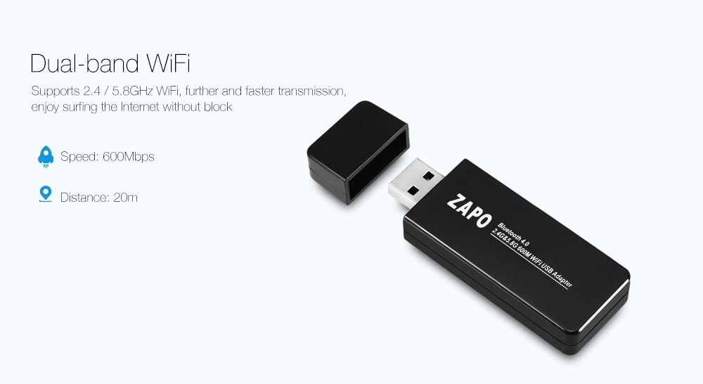 ZAPO W67B USB WiFi Adapter 600M 2.4 / 5.8GHz Bluetooth 4.0