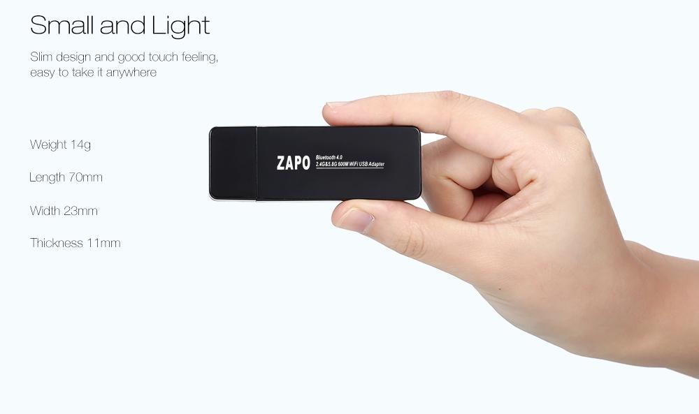ZAPO W67B USB WiFi Adapter 600M 2.4 / 5.8GHz Bluetooth 4.0