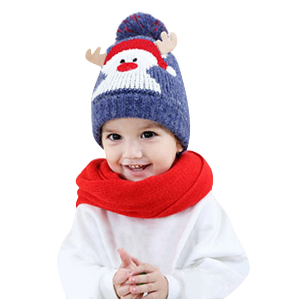 78f9d1e1 Generic Hiaojbk Store Baby Kids Beanie For Boys Girls Cap Cotton Knitted  Ball Warm Christmas Hats -Blue