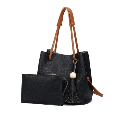 New Model Fashion Lychee Grain Tote Bag Handbag Bucket Bag Shoulder Bag Two-Piece Set (Black)
