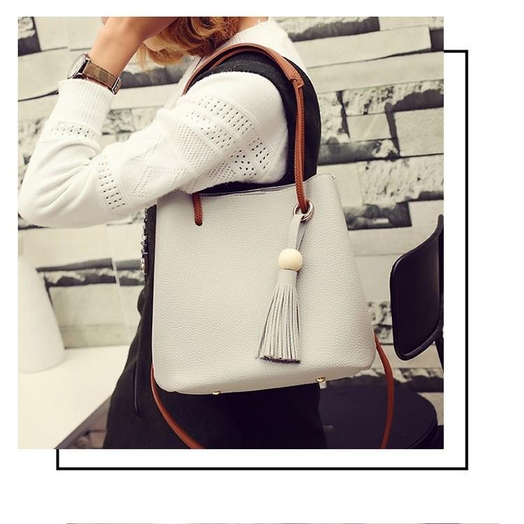 New Model Fashion Lychee Grain Tote Bag Handbag Bucket Bag Shoulder Bag Two-Piece Set (Black)