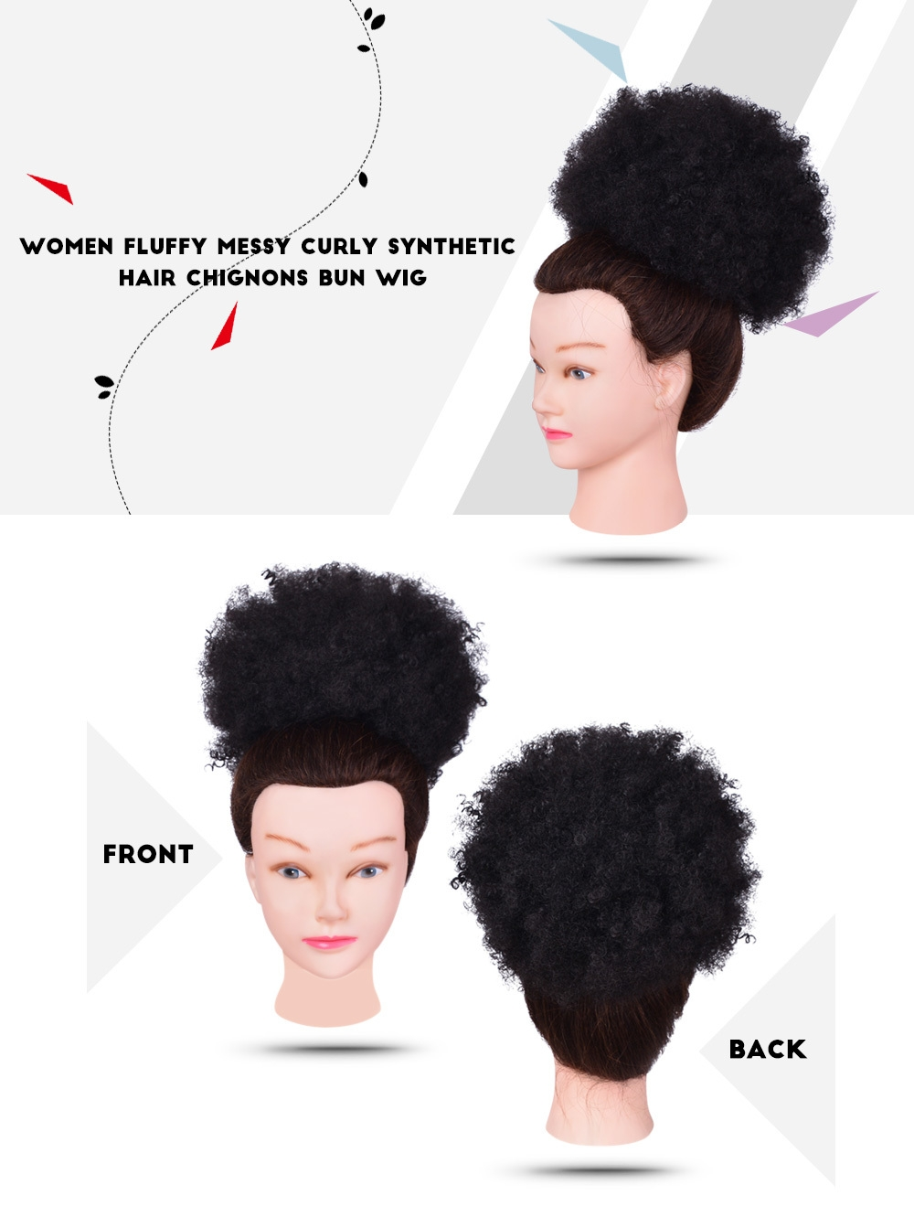 Women Trendy Fluffy Messy Curly Synthetic Fiber Hair Chignons Bun Wig