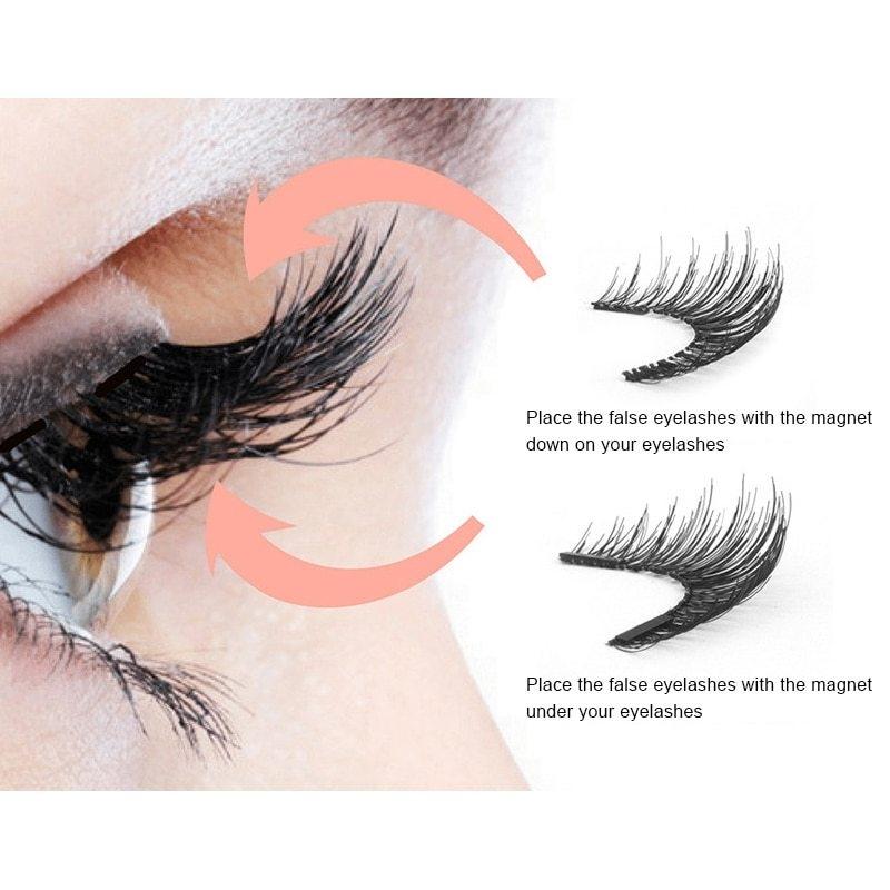 03bdfcfcc95 Generic 4pcs/pair 3 Magnetic Eyelashes 3D False Eyelashes With 3 ...
