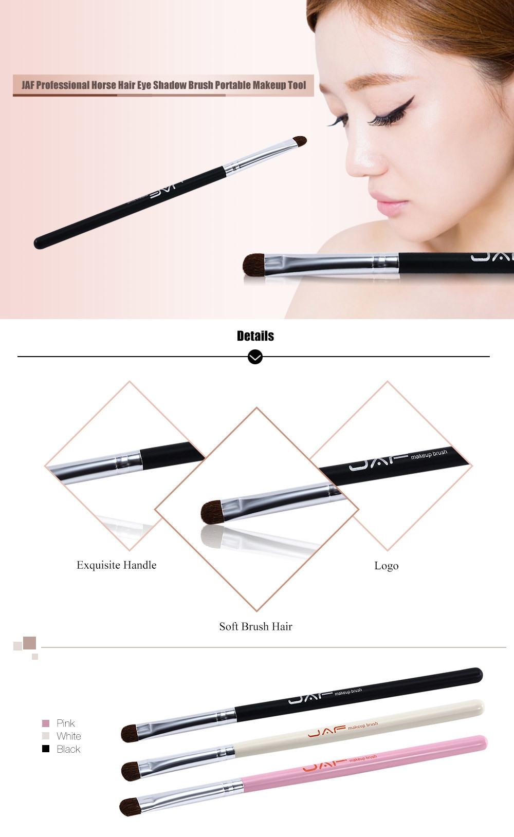 JAF Professional Horse Hair Eye Shadow Brush Portable Makeup Tool