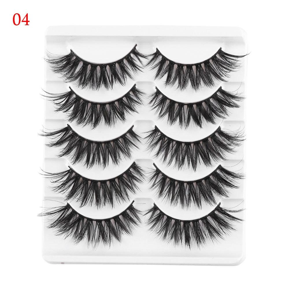 f81d3921569 Generic 5 Pairs 3D Faux Mink Hair False Eyelashes Wispies Long Cross Lashes  Handmade Eye Makeup Tools(6)