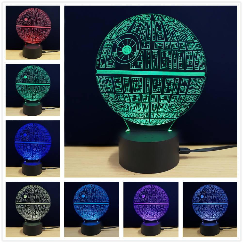Shining Creative 3D LED Lamp The Death Star Shape Table Lamp
