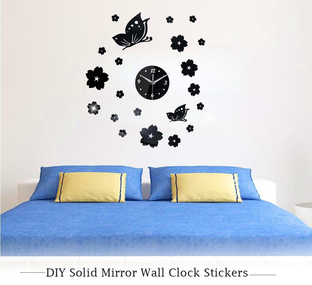 Crystal 3d Mirror Wall Clock Stickers Home Decor Black Jumia Kenya